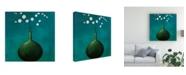 "Trademark Global Pablo Esteban Green Vase Over Blue Canvas Art - 36.5"" x 48"""