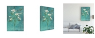 "Trademark Global Pablo Esteban White Flowers Over Blue 1 Canvas Art - 36.5"" x 48"""