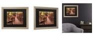 """Trademark Global Kurt Shaffer Autumn Bridge Matted Framed Art - 37"""" x 49"""""""