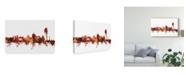 "Trademark Global Michael Tompsett Geneva Switzerland Skyline Red Canvas Art - 15"" x 20"""