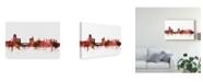 "Trademark Global Michael Tompsett Leeds England Skyline Red Canvas Art - 15"" x 20"""
