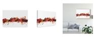 "Trademark Global Michael Tompsett Calgary Canada Skyline Red Canvas Art - 15"" x 20"""
