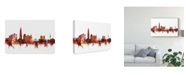 "Trademark Global Michael Tompsett Seoul Skyline South Korea Red Canvas Art - 37"" x 49"""