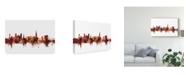 "Trademark Global Michael Tompsett Exeter England Skyline Red Canvas Art - 15"" x 20"""