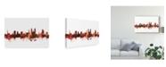 "Trademark Global Michael Tompsett St Gallen Switzerland Skyline Red Canvas Art - 15"" x 20"""