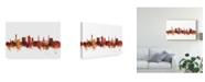 "Trademark Global Michael Tompsett Bradford England Skyline Red Canvas Art - 15"" x 20"""