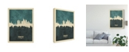 "Trademark Global Michael Tompsett Frankfurt Germany Skyline Teal Canvas Art - 15"" x 20"""