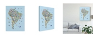 "Trademark Global Michael Tompsett Animal Map of South America For Children and Kids Blue Canvas Art - 20"" x 25"""