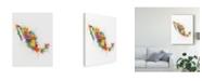 "Trademark Global Michael Tompsett Mexico Paint Splashes Map Canvas Art - 15"" x 20"""