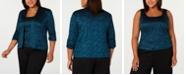 Alex Evenings Plus Size 3/4-Sleeve Printed Twinset