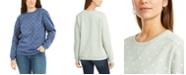 Karen Scott Petite Printed Fleece Sweatshirt, Created for Macy's