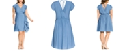 City Chic Trendy Plus Size Ruffled Faux-Wrap Dress