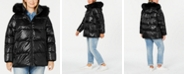 DKNY Plus Size High-Shine Faux-Fur-Trim Hooded Puffer Coat