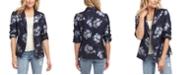 Karen Kane Ruched-Sleeve Jacquard Floral Jacket