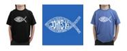 LA Pop Art Boy's Word Art T-Shirt - John 3:16 Fish Symbol