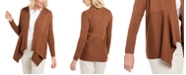 JM Collection Petite Mixed-Ribbed Flyaway Cardigan, Created For Macy's