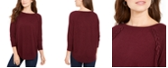 Style & Co Petite Lace-Up Chevron-Trim Sweater, Created for Macy's