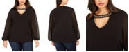 INC International Concepts INC Plus Size Studded Keyhole Sweater, Created For Macy's