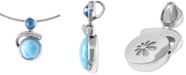 "Marahlago Larimar (12mm) & Multi-Gemstone (3/4 ct. t.w.) 21"" Adjustable Pendant Necklace in Sterling Silver"