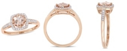 Macy's Morganite (4/5 ct. t.w.) and Diamond (1/7 ct. t.w.) Square Halo Ring in 10k Rose Gold