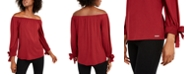 Michael Kors Off-The-Shoulder Tie-Sleeve Peasant Top