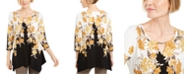 JM Collection Petite Printed Handkerchief Hem Top, Created For Macy's