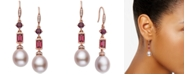 EFFY Collection EFFY® Pink Cultured Freshwater Pearl (12 x 10mm), Multi-Gemstone (2 ct. t.w.) & Diamond (1/8 ct. t.w.) Drop Earrings in 14k Rose Gold
