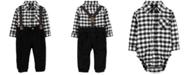 Carter's Baby Boys 3-Pc. Cotton Checkered Bodysuit, Suspenders & Corduroy Pants Set