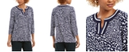 Charter Club Charted Club Printed Crochet-Trim Tunic Top, Created for Macy's