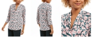 Charter Club Floral Print Ruched V-Neck Blouse, Created For Macy's