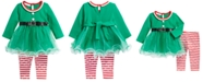 Bonnie Baby Baby Girls 2-Pc. Elf Tunic & Foil-Dot Striped Leggings Set