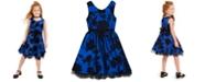 Rare Editions Little Girls Flocked Floral Dress