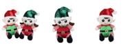 "Northlight Set of 2 Plush Sitting Boy and Girl Christmas Elf Figures 13"""