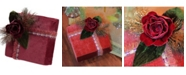 """Northlight 8"""" Nature's Luxury Dark Rose Floral Accent Christmas Gift Box Decoration"""