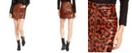 OAT Leopard-Print Zip-Front Mini Skirt