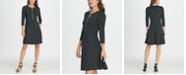 DKNY Ponte and Leather Combo Zipper Fit & Flare Dress