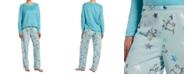 Hue Sueded Fleece Top & Printed Pants Pajama Set