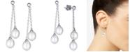 Macy's Cultured Freshwater Pearl (8-1/2mm) Dangle Drop Earrings in Sterling Silver