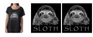 LA Pop Art Women's Dolman Cut Word Art Shirt - Sloth
