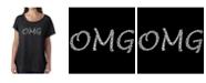 LA Pop Art Women's Dolman Cut Word Art Shirt - OMG