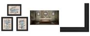 "Trendy Decor 4U Bathroom Humor 3-Piece Vignette by Debbie DeWitt, Black Frame, 19"" x 15"""