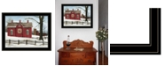 """Trendy Decor 4U Lover's Knot Quilt Block Barn by Billy Jacobs, Ready to hang Framed Print, Black Frame, 27"""" x 21"""""""