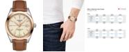 Tissot Men's Swiss Automatic Gentleman Brown Leather Strap Watch 40mm