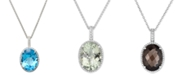 Macy's Blue Topaz (20 ct. t.w.) and White Topaz (3/8 ct. t.w.) Large Oval Pendant Necklace in Sterling Silver (Also Available in Prasiolite and Smoky Quartz)