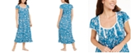 Miss Elaine Floral-Print Long Jersey Knit Nightgown