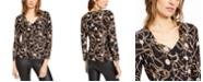 INC International Concepts INC Petite Zipper-Trim Surplice Top, Created For Macy's