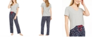 Nautica Women's V-Neck Top & Matching Novelty Pajama Pants, Online Only