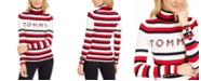 Tommy Hilfiger Striped Button-Sleeve Turtleneck Sweater