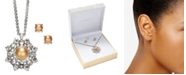 "Charter Club Silver-Tone Imitation Pearl Pendant Necklace & Stud Earrings Boxed Set, 17"" + 2"" extender, Created for Macy's"