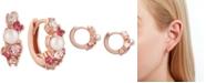 "Olivia Burton Extra Small Imitation Pearl & Crystal Huggie Hoop Earrings, 0.4"""